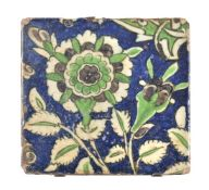 A small Damascus glazed fritware tile Ottoman Syria second half of 16th century