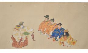 A Japanese Makimono painted in inks and gouache on paper depicting performers