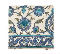 A Damascus polychrome glazed fritware tile Ottoman Syria circa 1600
