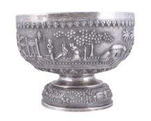 An Indian repoussé silver punch bowl Bengal circa 1900