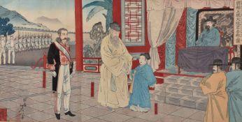 Senso-E: Two Sino-Japanese War Woodblock Printed Triptychs by Nobukazu Watanabe (1874-1944) in inks