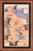 An illustrated leaf from a dispersed Persian manuscript of Firdausi's Shahnama Persia 16th century