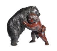 A Japanese Bronze Group of Kintaro and a Bear