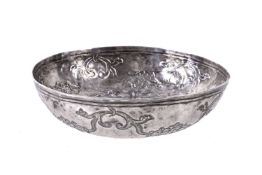 An Ottoman empire silver hammam bowl (tas) Tughra mark late 18th or early 19th century