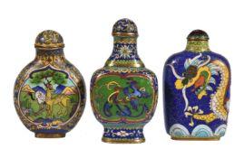 A Chinese cloisonné 'phoenix' enamel snuff bottle