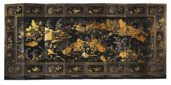 A large Chinese export eight-fold gilt lacquer screen
