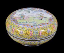 A large and rare Chinese 'Romance of the Three Kingdoms' canton enamel box and cover
