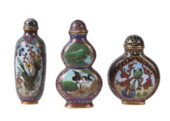 Three Chinese cloisonné snuff bottles