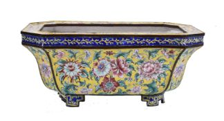A Chinese enamel yellow-ground jardinière
