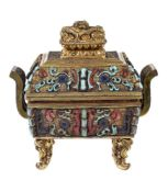 A unusual Chinese turquoise-inlaid gilt bronze archaistic censer and cover
