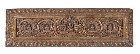 A good Tibetan Gilt Wood Book or Sultra cover