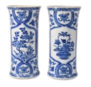 A pair of Chinese blue and white sleeve vases