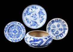 A Chinese blue and white 'Dragon and Phoenix' bowl