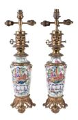 A pair of Chinese ormolu mounted vases