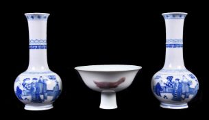 A pair of Chinese blue and white vases