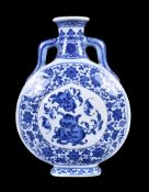 A Chinese Ming-style blue and white moonflask