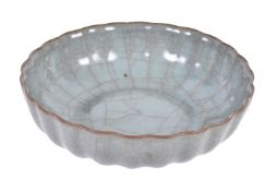 A Chinese guan-type chrysanthemum lobed bowl