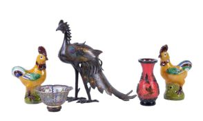 A Chinese Champlevé 'Phoenix' censer and cover