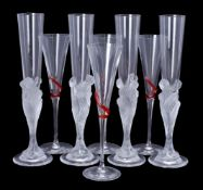 Erté for Lalique, Cristal Lalique, Majestique, a set of four clear and frosted glass champagne flute