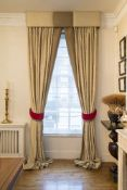 Three pairs of full length curtains in raw silk
