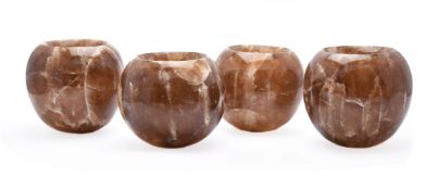 A set of four spherical onyx vessels