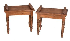 A pair of pitch pine stools or one seater hall seats
