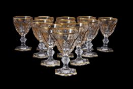 A set of eleven Baccarat 'Harcourt (Gold)' pattern wine glasses