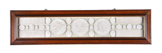 Three mounted and framed groups of plaster intaglio casts in early 19th century Grand Tour taste