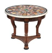 A mahogany, inlaid, and specimen marble topped centre table