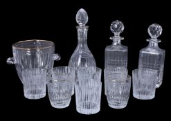 A mixed selection of modern clear drinking and other glass