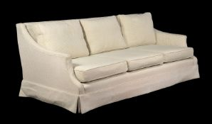 A pair of George Smith beige striped chenille upholstered sofas