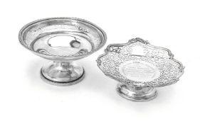 Two silver pedestal baskets