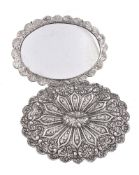 A pair of Ottoman Turkish silver shaped oval mirrors