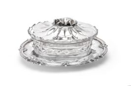 A William IV silver shaped oval butter dish by Charles Ratherham