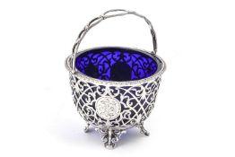 A Victorian silver circular sugar basket by George John Richards & Edward Charles Brown