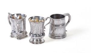 Three silver christening mugs