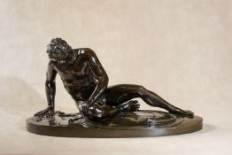 An Italian patinated bronze model of the Capitoline Dying Gaul