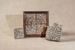 A mixed group of six Mediaeval encaustic glazed tiles,