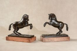 Manner of Giambologna, (Flemish working in Italy, 1527 - 1608), a pair of patinated bronze models of