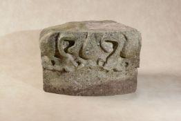 A Mediaeval English carved limestone corbel