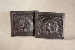 A pair of relief carved oak Romayne panels