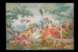 A large and impressive French painted canvas figural cartoon in the manner of Aubusson tapestries