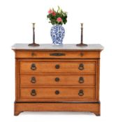 A Louis Phillipe birds eye maple and metal mounted commode