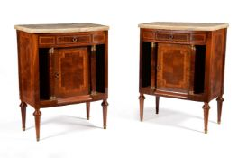 A pair of French burr walnut and walnut bedside cabinets