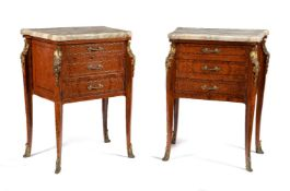 A pair of burr walnut, mahogany and gilt metal mounted petit commodes or bedside chests, in Louis Ph