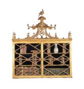 A George III carved giltwood and gesso hanging wall cabinet