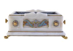 A French champlevé enamel and gilt metal mounted onyx jardiniere