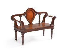 A Victorian oak hall seat, circa 1850,