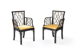 A set of eight George III black painted and parcel gilt dining chairs