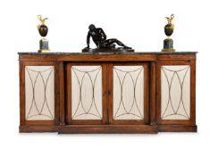 ϒ A Regency rosewood breakfront side cabinet